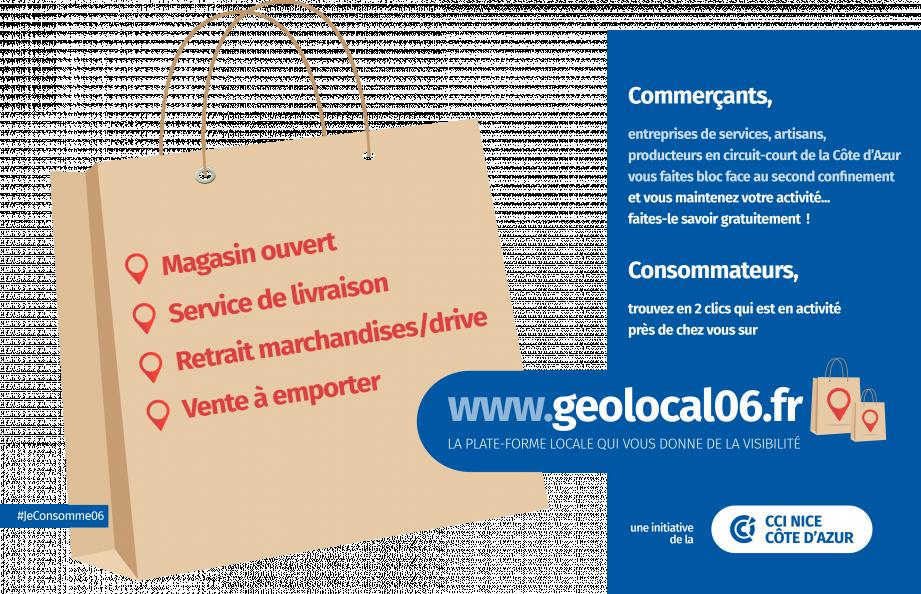 Commerçants, artisans, producteurs azuréens, inscrivez-vous sur Geolocal06.fr pour améliorer votre visibilité.