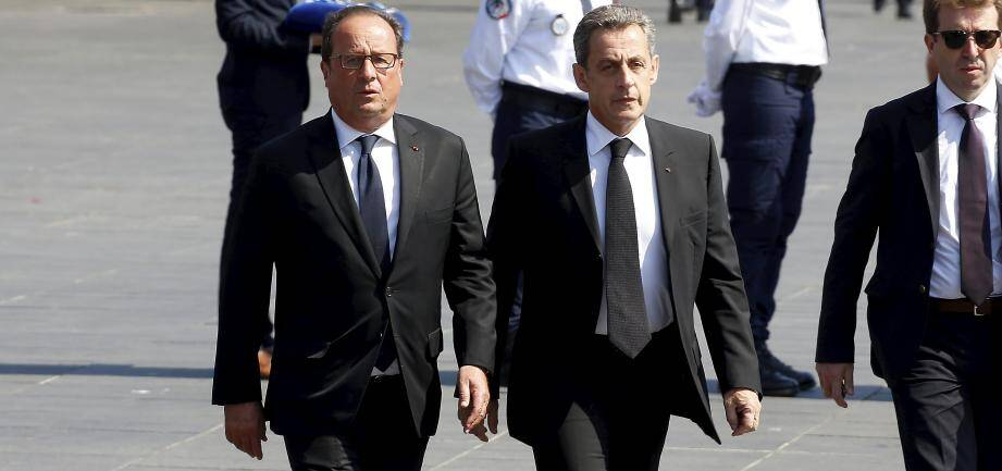 François Hollande et Nicolas Sarkozy le 14 juillet 2017 à Nice, pour la journée hommage un an après l'attentat sur la Promenade des Anglais.