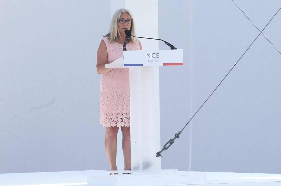 Anne Murris lors de la cérémonie du 14 juillet, deux ans après les attentats de Nice.