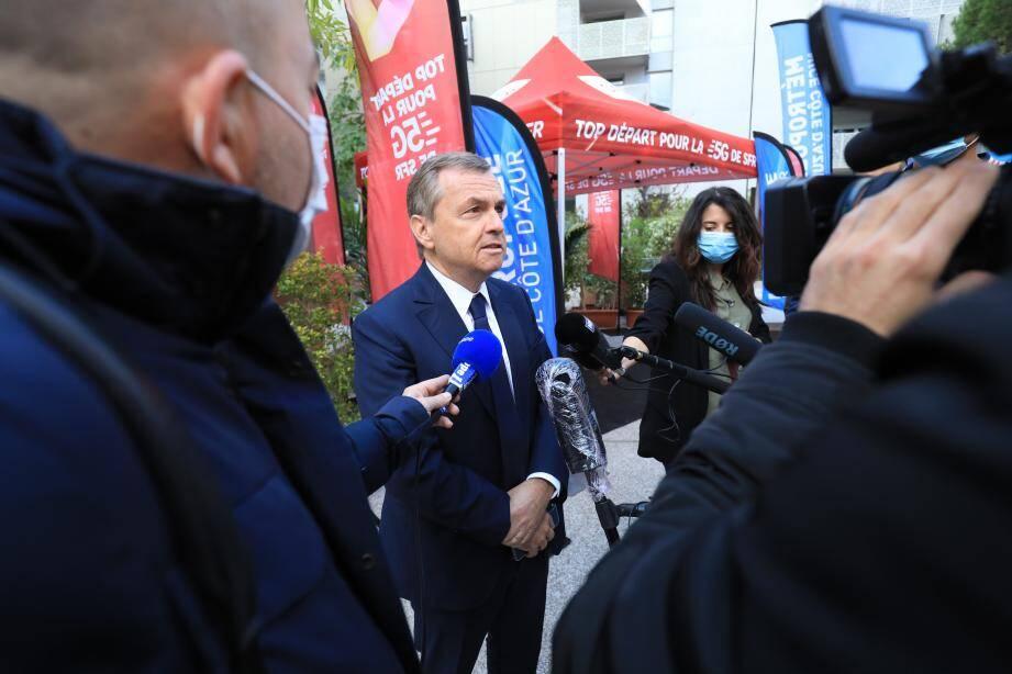Alain Weill, PDG de SFR, lors du lancement de la 5G à Nice ce vendredi.