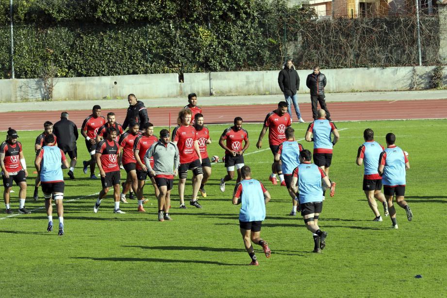 Les Toulonnais à l'entraînement à Berg.