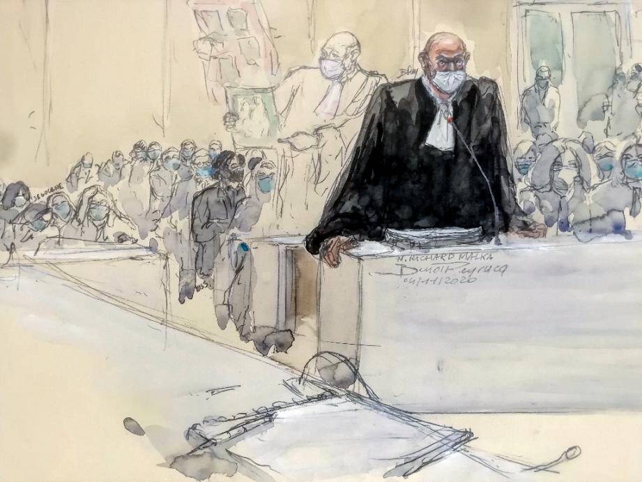 Croquis d'audience réalisé le 4 décembre 2020 montrant l'avocat Richard Malka au Tribunal de Paris