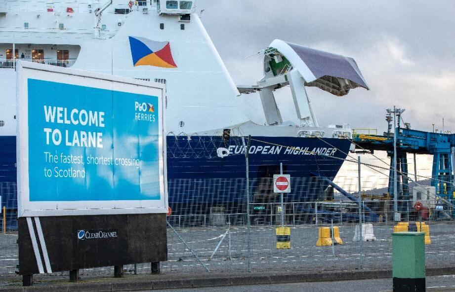 Le port de Larne en Irlande du nord, le 5 décembre 2020 où, à la suite du Brexit, un nouveau poste de contrôle des frontières doit être mis en place