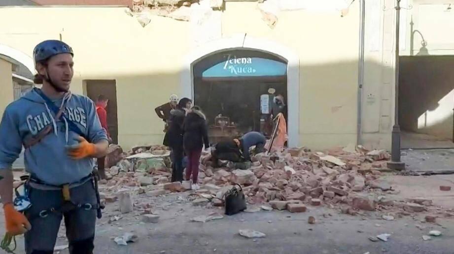 Les dégâts après un séisme à Petrinja (Croatie) le 29 décembre 2020.