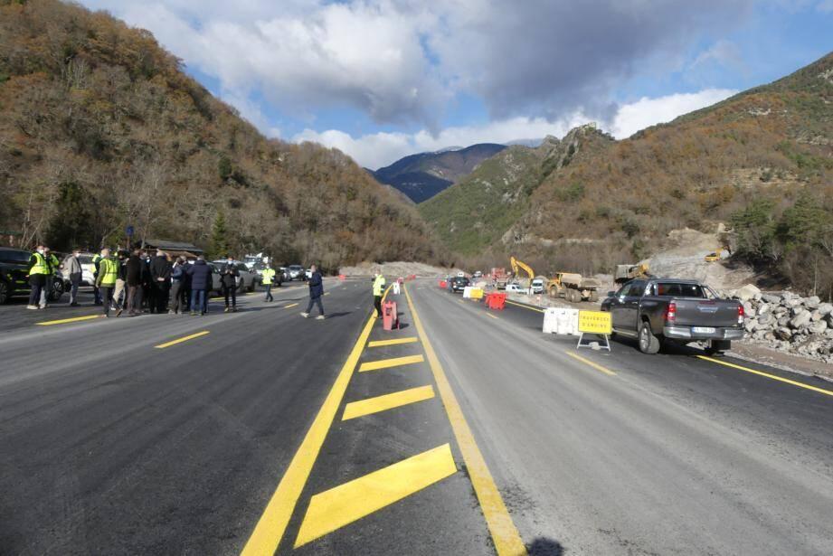 Le plus gros chantier routier de la Tinée concerne la 2x2 voies au niveau de Bancairon. Photo A. L.