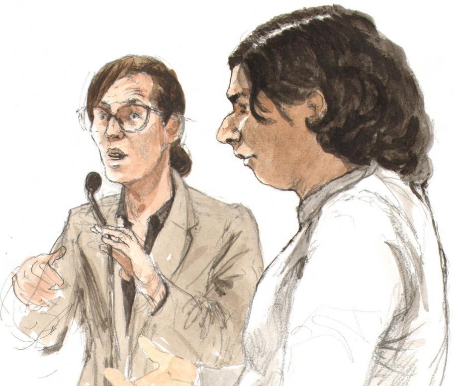 Face aux avocats de la défense d'Ibrahim Rabbih, puis de Brice Desrayaux, la directrice d'enquête n'a pas lâché un pouce sur ses convictions : pour elle, les deux hommes ont assassiné Karim Regaoui.(Croquis d'audience Rémi Kerfridin)