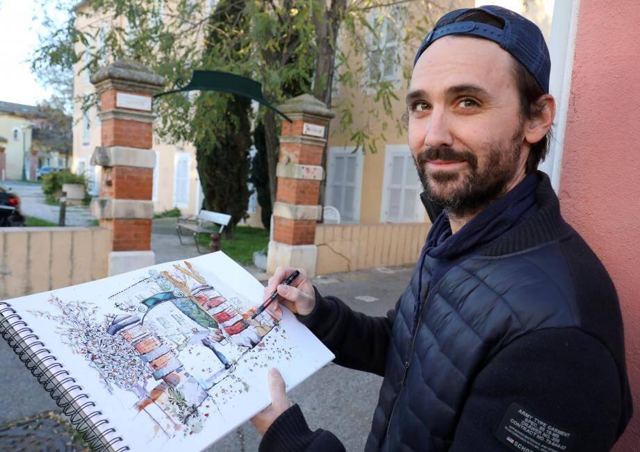 Depuis quelques semaines, Julien Orsini fait profiter les Pradétans de son regard et son coup de crayon.