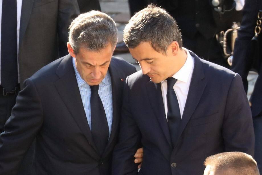 Nicolas Sarkozy et Gérald Darmanin aux obsèques de Charles Aznavour en 2018