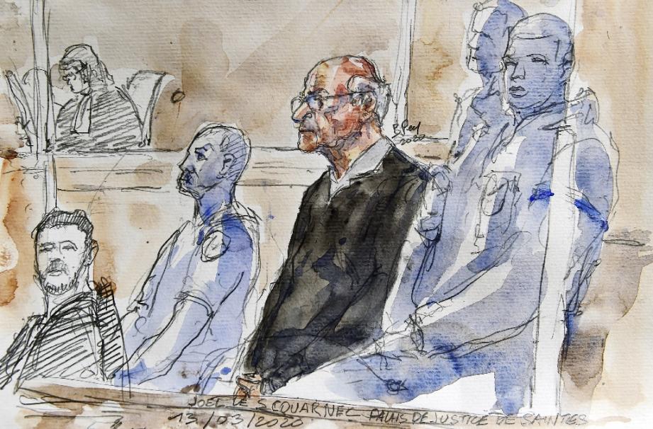 Croquis de l'audience du 13 mars 2020 lors du procès de Joel Le Scouarnec devant les assises à Saintes