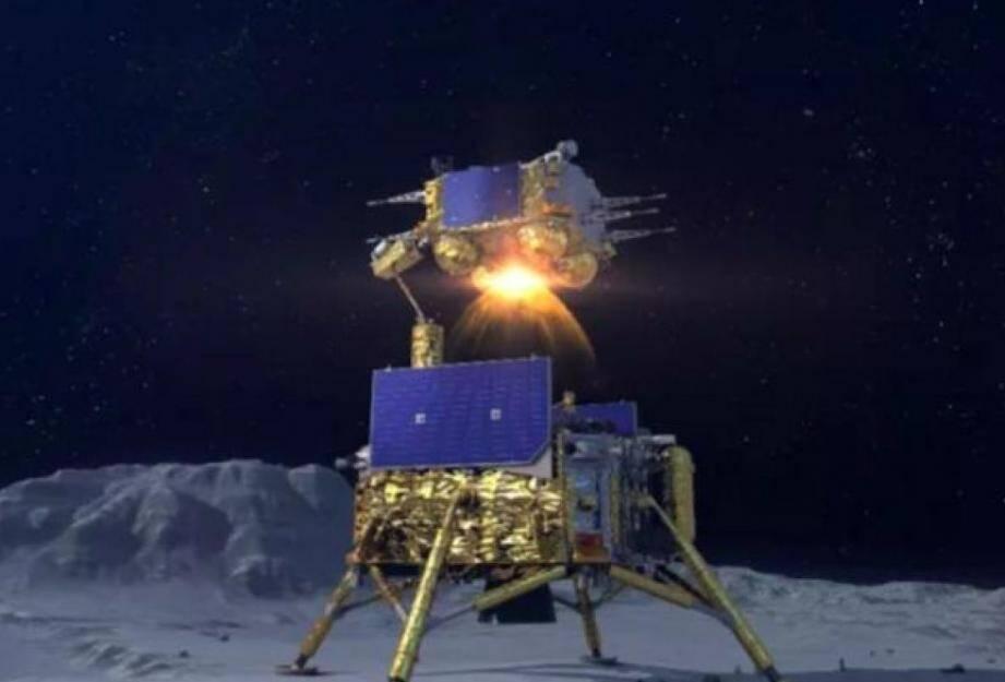 plus de 40 ans.      Chang'e 5  Vue d'artiste du décollage du module de remontée de la mission chinoise Chang'e 5.