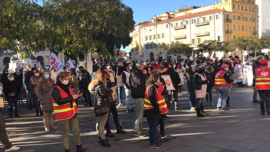Manifestation ce jeudi matin dans le centre de Nice.