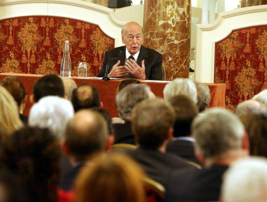 Valery Giscard d'Estaing, lors d'une conférence sur l'Europe à Monaco en 2017.