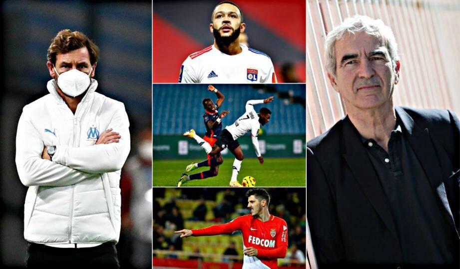 De gauche à droite et de haut en bas: Villas-Boas espère du 9, Le FC Seville veut Bamba, Depay restera-t-il Lyonnais?, Quelle direction pour Jovetic?, quel FC Nantes pour Raymond Domenech?