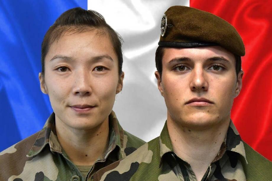 Le sergent Yvonne Huynh (G) et le brigadier Loic Risser, deux soldats français tués par une attaque à l'explosif au Mali, photo publiée le 3 janvier 2020 par le service de presse de l'armée française (Sirpa)