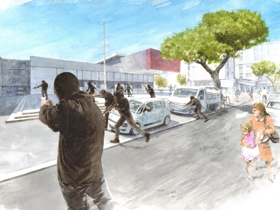 Le 20 juillet, les assaillants ont tiré devant le supermarché après avoir remonté en courant l'avenue Martin-Luther-King.