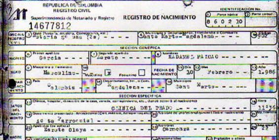 L'acte de naissance de Falcao prouvant qu'il est bien né en 1986