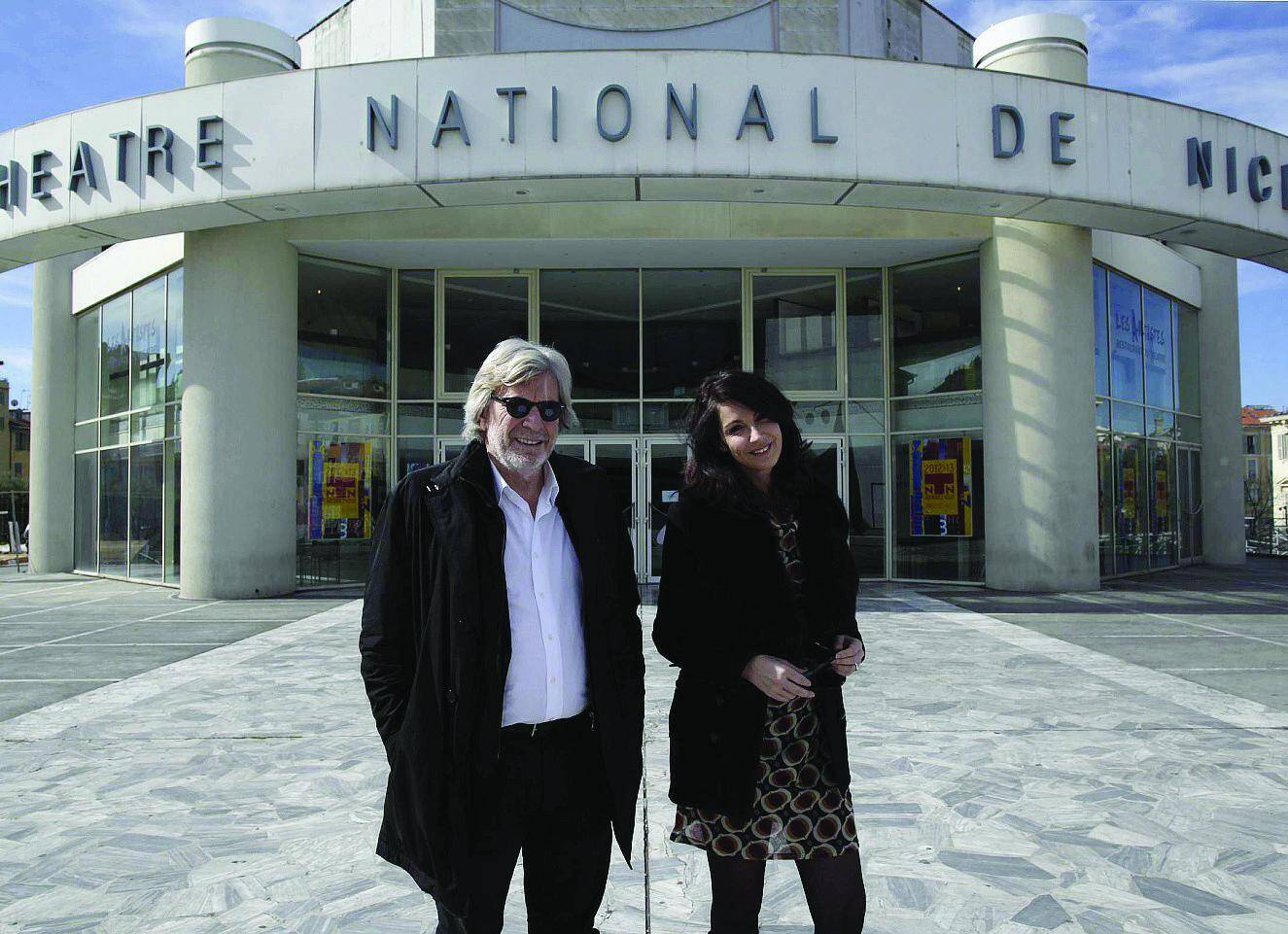 Daniel Benoin et Zabou Breitman en avril 2013 devant le Théâtre national de Nice.