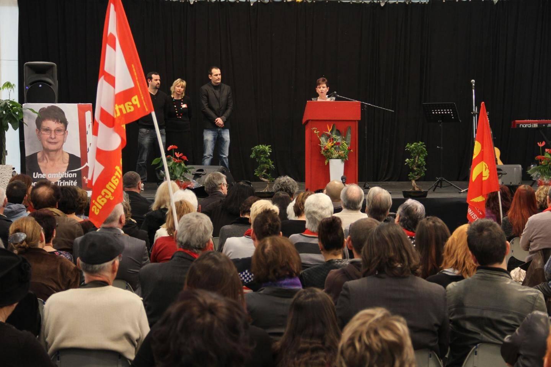 L'intervention d'Adeline Mouton lors de son meeting samedi.