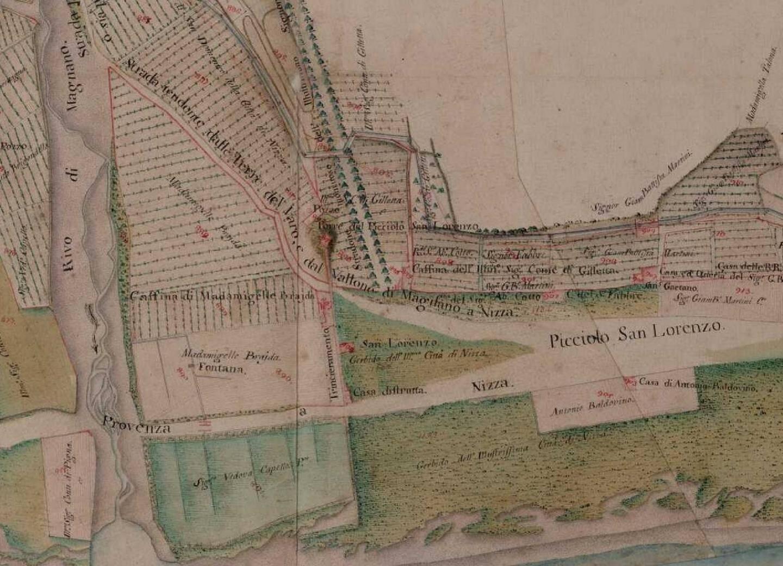 Sur cette carte du XVIIIe siècle, on distingue le mur de fortification partant de la tour du Barri Vieil (petit monticule sombre et rouge au milieu), et descendant quasi perpendiculairement vers le bord de mer.