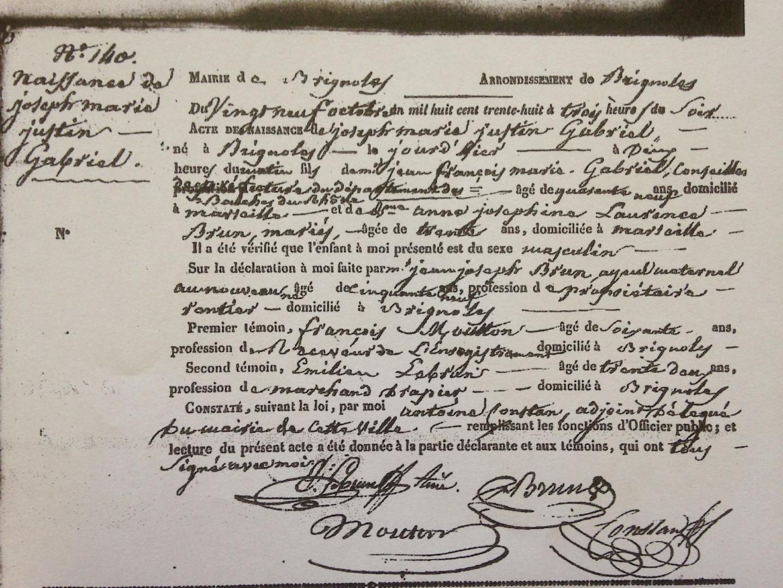 L'acte de naissance de l'artiste découvert dans les archives brignolaises.