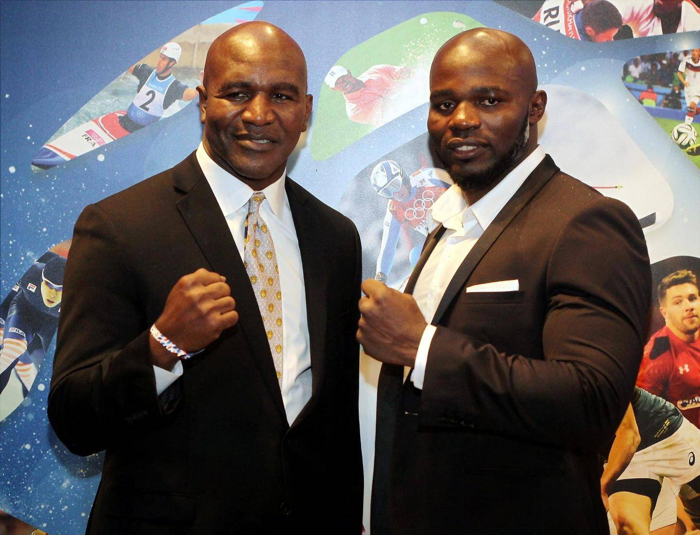 Les boxeurs internationaux Holyfield Evender et Carlos Takam