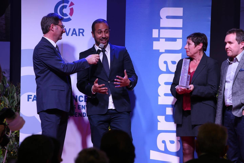 Ramzi Larbi, PDG de C2S, France Schuller, directrice de l'Afpa Var, et Vincent Parisot, directeur de la  communication d'Orange Sud Est.