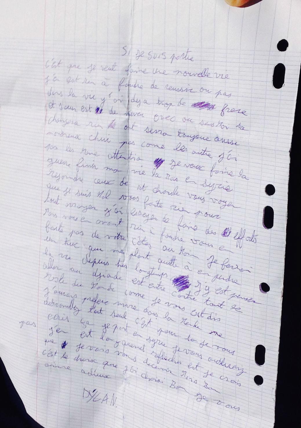 Dans une lettre où il exprime surtout son mal-être, Florian explique à ses parents qu'il part «au djihad», «contre le reste du monde».