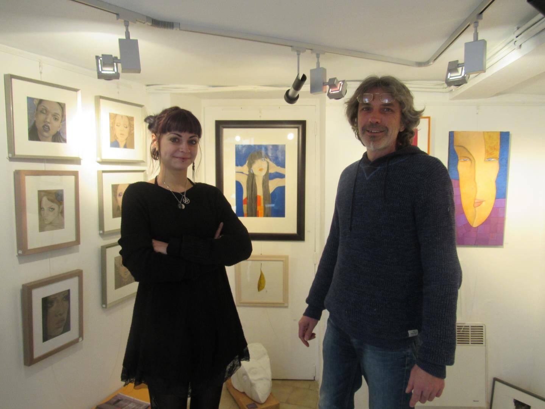 Yannick Schwarz et sa fille Mélahèle (peinture).