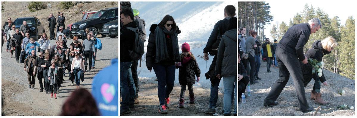 Les familles arrivant à pied, au terme d'une marche de plus d'une heure, passant devant des berlines allemandes tape à l'œil et inutilisées... Elles se sont recueillies face au site du crash. Certaines ont eu le courage d'aller toucher la roche sur laquelle leurs proches sont morts.