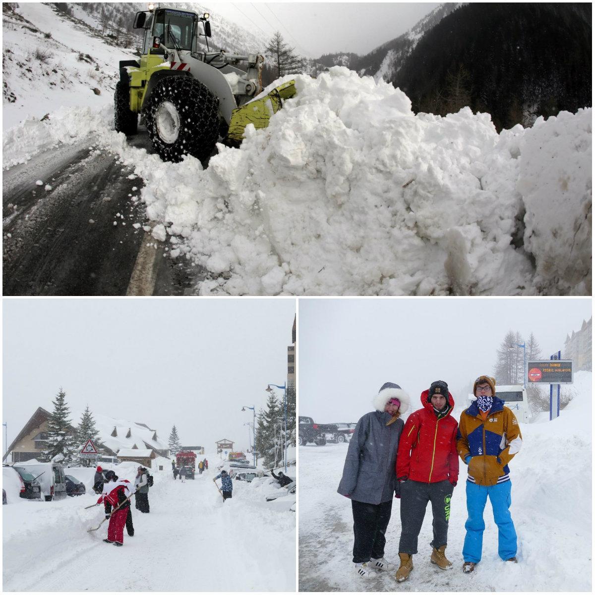 Les opérations de déblaiement et sécurisation de la RM97 ont duré une grande partie de la journée.On s'est également activé dans la station pour libérer la route.Anthony, Alexis et Laurine, pris de court par ce blocus inopiné, en ont été quitte pour un jour de ski supplémentaire.