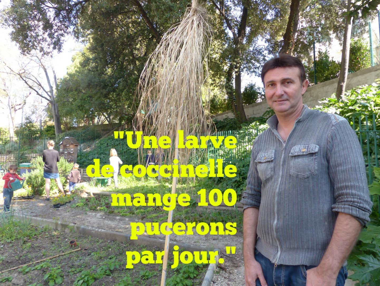 Lionel Vérola, responsable culture de l'association ARBRE donne des astuces pour jardiner sans pesticides, à la maison de l'Environnement.