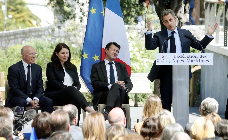 Nicolas Sarkozy à droite toute, hier à Nice.
