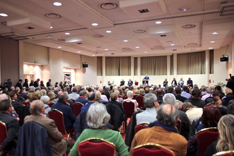 La salle de l'hôtel Plaza lors de la dernière réunion de soutien à Fillon, mercredi, était comble… (D. R.)