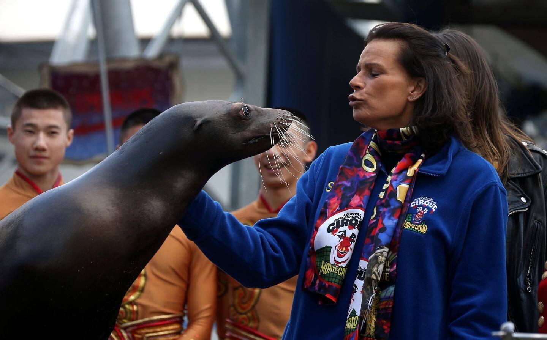 Complice avec les animaux, la princesse s'est prêtée avec humour à quelques facéties avec les otaries.