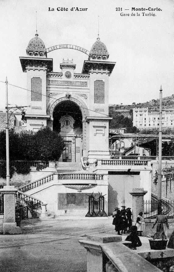 Monte-Carlo - Gare de départ pour La Turbie.  (Document collection Jean-Paul Bascoul)