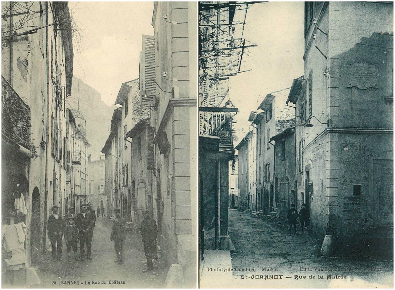 La rue du Château et la rue de la Mairie