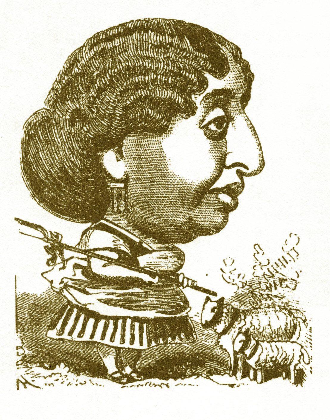 Une caricature de George Sand, parue en 1873 dans Le trombinoscope par Touchatout. (DR)