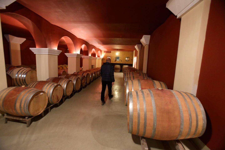 Les 3 000 m2 de caves, avec ici la salle dédiée à l'élevage du vin en fûts de chêne, constituent l'une des valeurs sûres du Château.