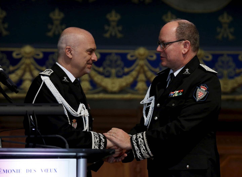 Le souverain a assisté hier à la cérémonie des vœux de la Sûreté publique, aux côtés de son directeur, Richard Marangoni.