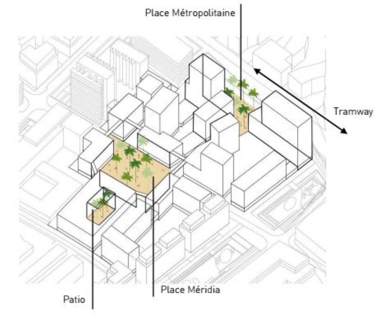 Le projet a été dessiné autour de trois places.