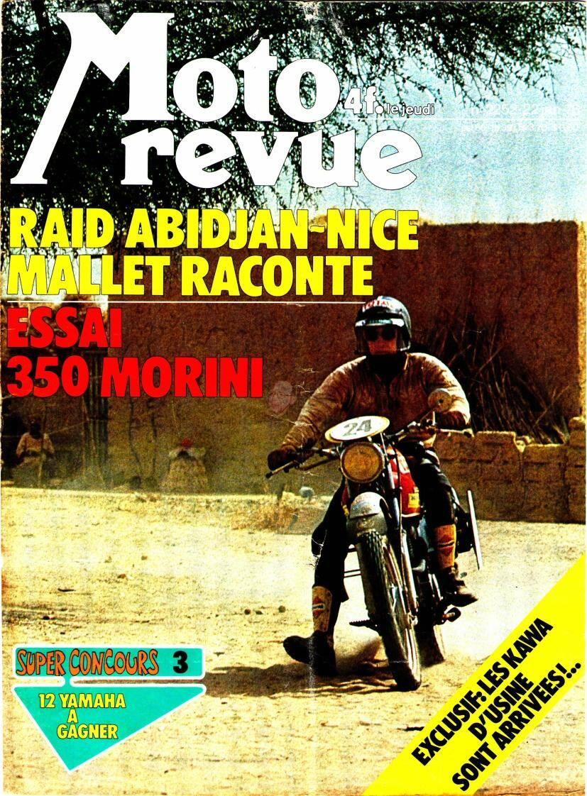 La Une de Moto Revue du 22 janvier 1976, consacrée à la première édition du raid Abidjan-Nice.