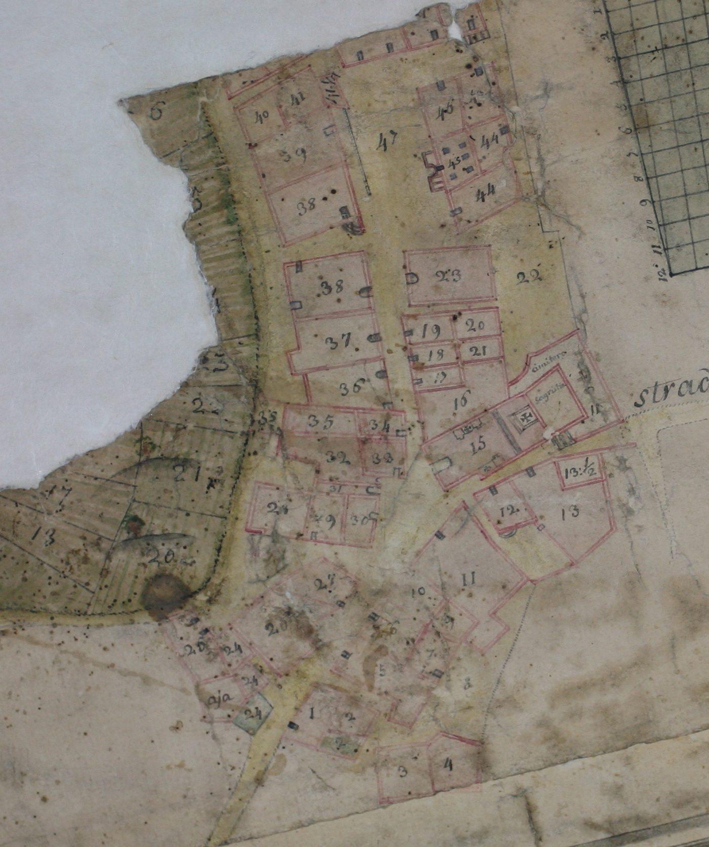 Plan du village comportant la numérotation des maisons.(D. R.)
