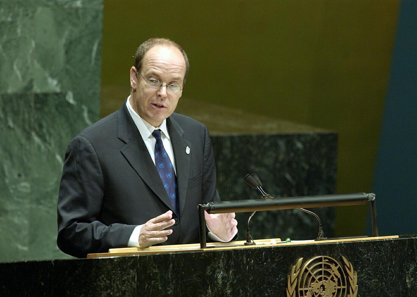 Le prince Albert II à la tribune de l'ONU