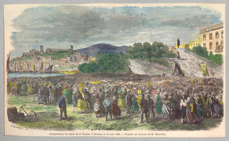 Héritage essentiel laissé par Lord Brougham  : le canal de la Siagne qui a été inauguré quelques mois après sa disparition.