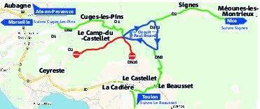Voici le plan de circulation prévisionnel, tel qu'il n'a pas encore été officialisé: en vert, les axes d'accès; en bleu, le périphérique circuit à sens unique; en rouge, les routes réservées aux secours et aux accrédités.