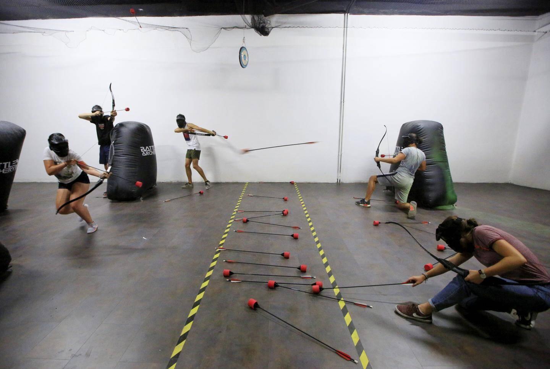 En pleine partie d'Archery fighting. On couvre les coéquipiers pour récupérer des munitions...