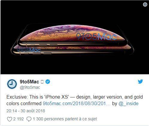 Une version dorée devrait exister pour lesiPhone XS et l'iPhone XS Max.