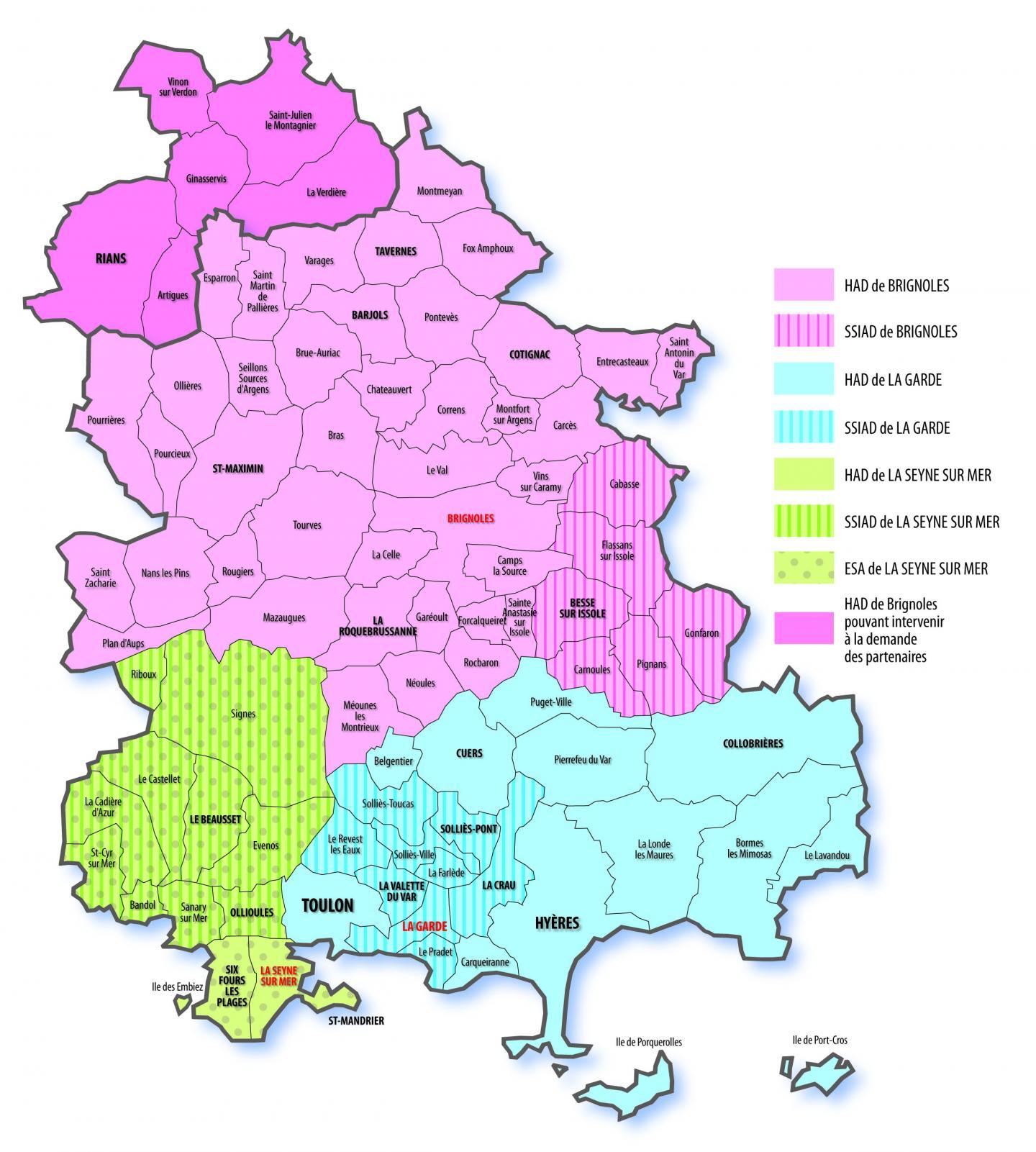 Les secteurs d'interventions de Santé et Solidarité du Var et les antennes (en rouge) dont ils dépendent