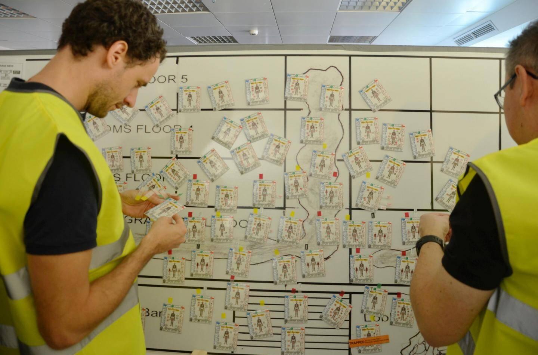 Les protagonistes de l'exercice étaient entourés d'instructeurs.