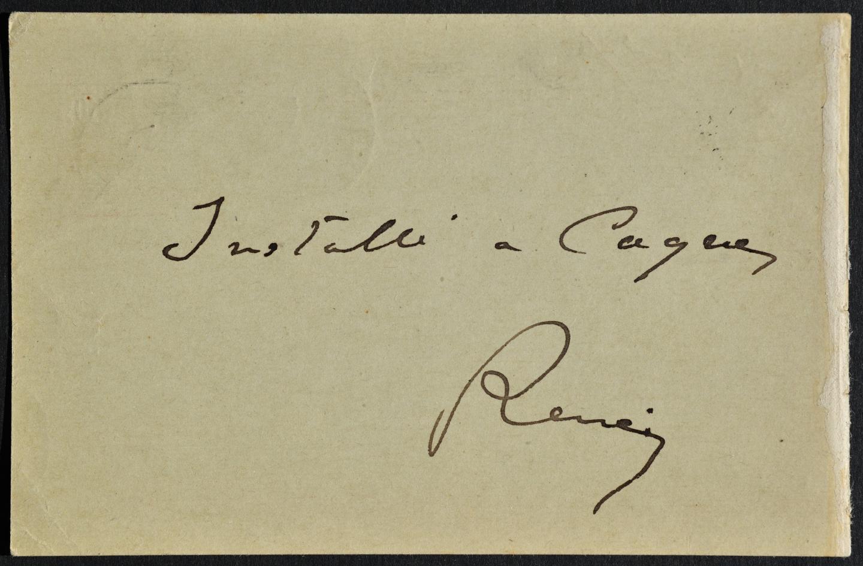 En 1903, Renoir décide de s'établir de façon définitive à Cagnes-sur-Mer, comme l'atteste cette carte postale.